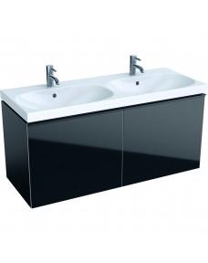 500.613.16.1 Geberit Acanto Тумба для двойного умывальника 120 см,корпус: лакированый матовый/ черный, фасад: черное стекло