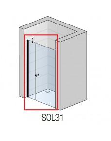 Oдностворчатая дверь с фиксированной стенкой в одной линии SAN SWISS BlackLine Solino SOL3112000607, 120см, стекло прозрачное, проф.чёрный мат.