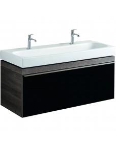 Тумба для раковины Geberit Citterio 120 см, 1 выдвижной ящик, серо-коричневый дуб, фасад стекло-панель черный 500.566.JJ.1