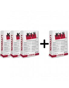 Акция! Клей цементный Litokol К17 20 кг (K170020) Серый (Комплект)