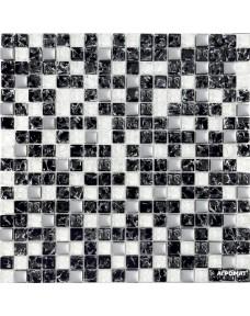 Мозаика Grand Kerama 503-Микс (черный колотый-белый колотый-платина)
