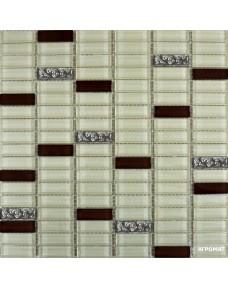 Мозаика Grand Kerama 1085 микс охра-коричневый-платина рифленая