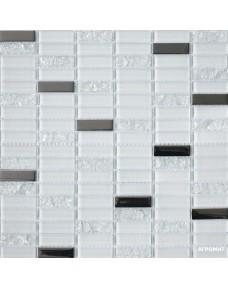 Мозаика Grand Kerama 1086 микс белый-белый колотый-платина