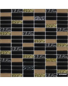 Мозаика Grand Kerama 1084 микс черный-черный рифленый-бежевый
